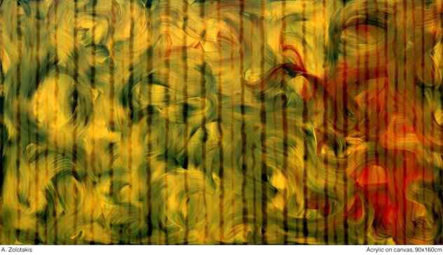 Zolotakis πίνακας 3, acrylic on canvas 90χ160